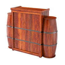 Harrod Handcrafted Rustic Solid Wood Barrel Design Home Bar Cabinet