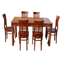 City Dinette Table with Barrel School Back Chairs