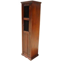 Havana Solid Wood Narrow Armoire Cabinet With Shelves And Iron Grill