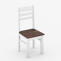 Illinois Modern Two Tone Solid Wood School Back Dining Chair