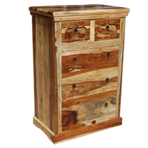 Tucson Solid Wood Tall Bedroom Dresser Chest of 5 Drawers