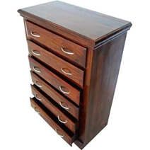 Shaker Rustic Solid Wood Bedroom Dresser Chest With 6 Drawers