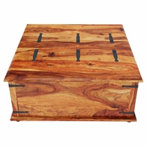 Large Square Storage Box Trunk with Metal Accents Coffee Table