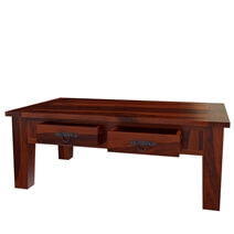 Tierra Rustic Solid Wood 2 Storage Drawer Occasional Cocktail Table