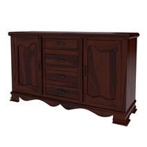 Visalia Rustic Solid Wood Handcrafted 4 Drawer Large Sideboard Cabinet