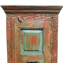 Palace Gates Iron Grill Distressed Solid Wood Attached Tower Armoire