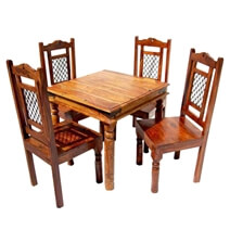 Philadelphia Rustic Wood Square Dining Table and Chair Set