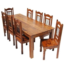 Philadelphia Solid Wood Rustic Transitional 9pc Dining Table Chair Set