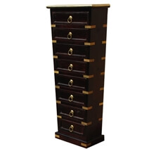 Malibu Brass Inlay Tapered Solid Wood Tower Chest of 8 Drawers