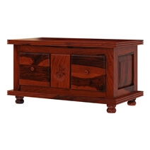 Arca Rustic Solid Wood 2 Drawer Storage Cocktail Coffee Table