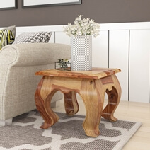 Halfeti Contemporary Rustic Solid Wood Opium End Table