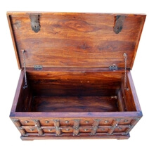 Beaufort Primitive Wood with Metal Accents Blanket Storage Trunk