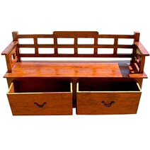 Rustic Wood Storage Drawers Sofa Entry Way Long Bench
