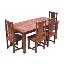 Rustic Solid Wood Santa Cruz Dining Table Set