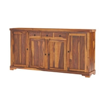 Santa Cruz Rustic Solid Wood 4 Door 3 Drawer Extra Long Sideboard