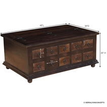Classic Wood Storage Coffee Table with 10 Drawers