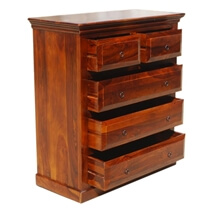 Sierra Classic Solid Wood 5 Drawer Standard Vertical Chest