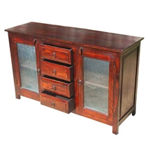 Rustic Frosted Solid Wood Glass Door 4 Drawer Sideboard Cabinet