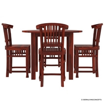 5 PC Contemporary Counter Height Round Dining Table and Chair Set