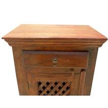 Agdenes Solid Wood Lattice Design Door 1 Drawer Nightstand