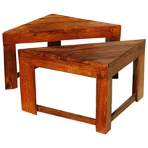Solid Rustic Wood Corner Side End Plant Stand Table