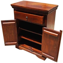Solid Wood 1 Drawer 2 Shelf Nightstand End Side Table