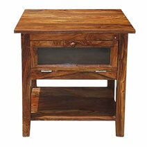 Solid Wood 2 Way Open Side End Table Plant Night Stand