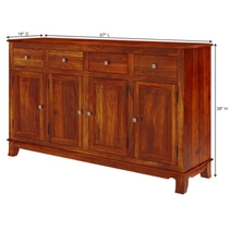 Siena Rustic Solid Wood 4 Drawer Large Sideboard Cabinet