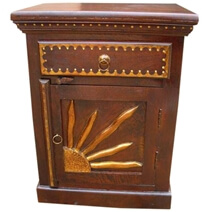 Solid Wood Bedside Painted End Table Nightstand Carving