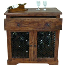 Hemlock Traditional Rustic Solid Wood Iron Grill Door Wine Bar Cabinet