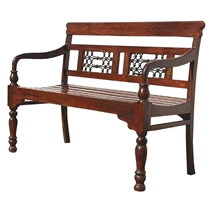Solid Wood Iron Hand Crafted Indoor Outdoor Sofa Bench