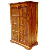 Mendon Rustic Solid Wood Handcarved Door Storage Cabinet