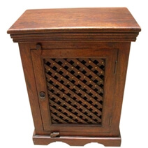 Crisfield Solid Wood Lattice Design Door Handcrafted Nightstand