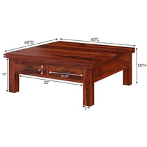 Cheverly Modern Style Solid Wood 4 Drawers Square Coffee Table