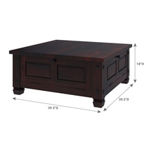 Russet Solid Wood 4 Doors Square Rustic Coffee Table With Storage