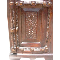 Largo Handcarved Solid Wood Tall Linen Cabinet With Iron Grill