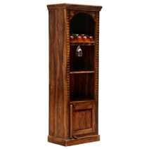 Kipton Rustic Solid Wood Handcrafted Tall Wine Bar Cabinet