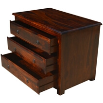 Vermont Rustic Solid Wood 3 Drawer Small Dresser Chest