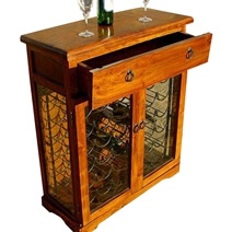 Argana Solid Wood Glass Door 36 Bottle Cellar Wine Rack