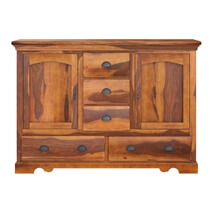 Burlington Rustic Solid Wood 5 Drawer Dining Large Sideboard Cabinet