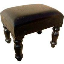Wood Black Leather Ottoman Footstool Corner End Table