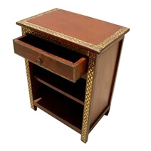 Orevika Solid Wood Handcrafted Brass Accent Work 1 Drawer Nightstand