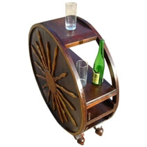 Unique Rustic Solid Wood Brass Accent Work Wine Bar Console Table