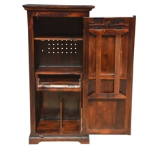 Space Saving Solid Wood Folding Armoire Desk with Storage Cabinet