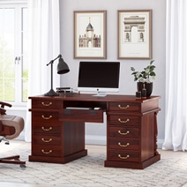 Rustic Solid Wood Home Office Executive Computer Desk with 11 Drawers
