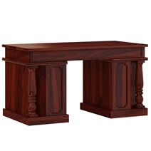Transitional Solid Wood Home Office Executive  Desk with Keyboard Tray