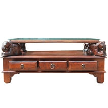 Unique Rosewood Hand Carved Elephant Coffee Table w 6 Drawers
