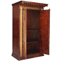Ethnic Heritage Door Brass Inlay Solid Wood Large Armoire Wardrobe