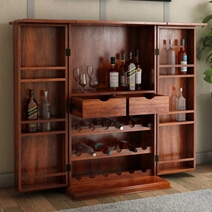 Expandable Rosewood Rustic Bar Cabinet with Bottle Storage and Wine Rack