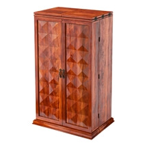 Wisconsin Rustic Solid Wood Expandable Bar Cabinet with Wine Storage